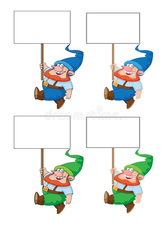 Gehender Gnome mit leerem Zeichen