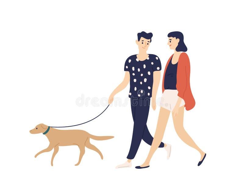 Gehender Hund der lustigen romantischen Paare auf der Leine lokalisiert auf weißem Hintergrund Netter Junge und Mädchen mit ihrem stock abbildung