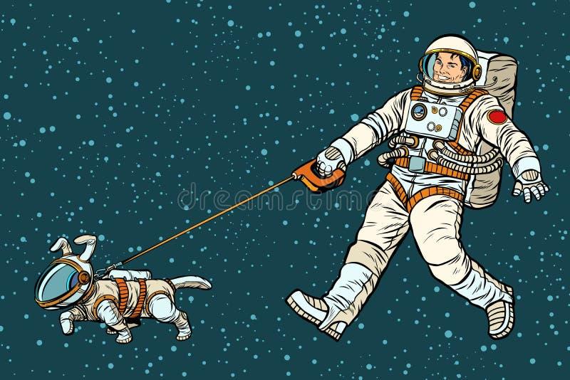Gehender Hund des Astronauten in einem Raumanzug lizenzfreie abbildung