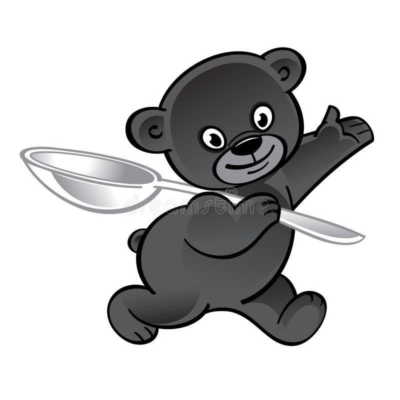 Gehender lustiger Bär mit großem Löffel lizenzfreies stockbild