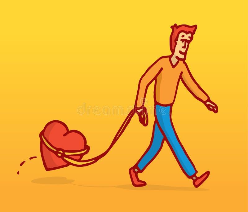 Gehender Mann sein Herz mit Leine lizenzfreie abbildung