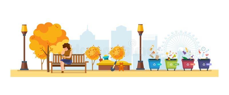 Gehender Park der Herbststadt mit bunten Saisonblättern vektor abbildung