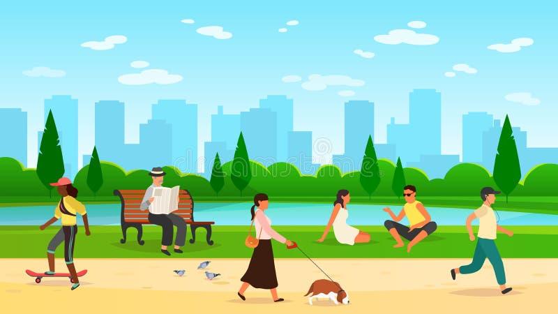 Gehender Park der Leute Spaßwegnaturkarikatur-Lebensstilvektor der Frauenmanntätigkeitsfreiensportgruppe laufender Gemeinschafts vektor abbildung