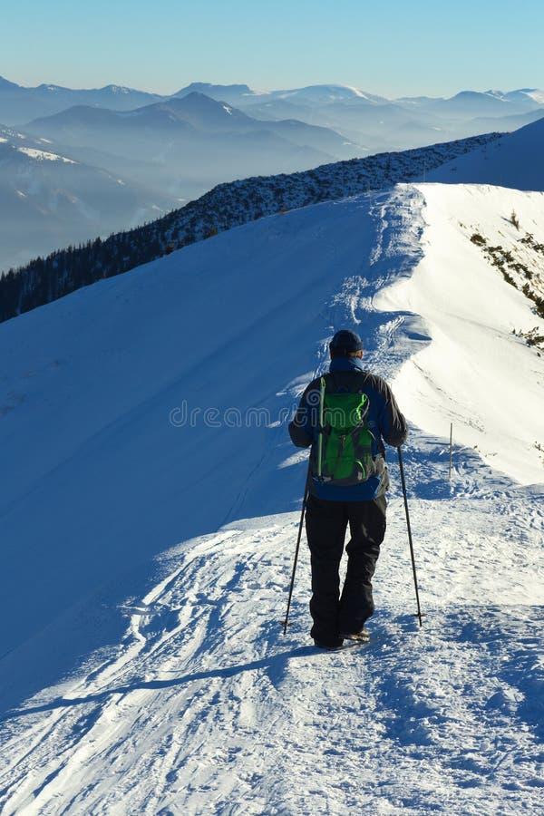 Gehender Tourist in der slowakischen Winterlandschaft stockbild