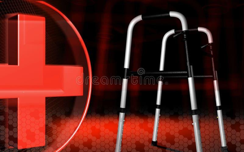 Gehendes Helfer, das durch Handikaps und rotes Kreuz mit verwendet vektor abbildung