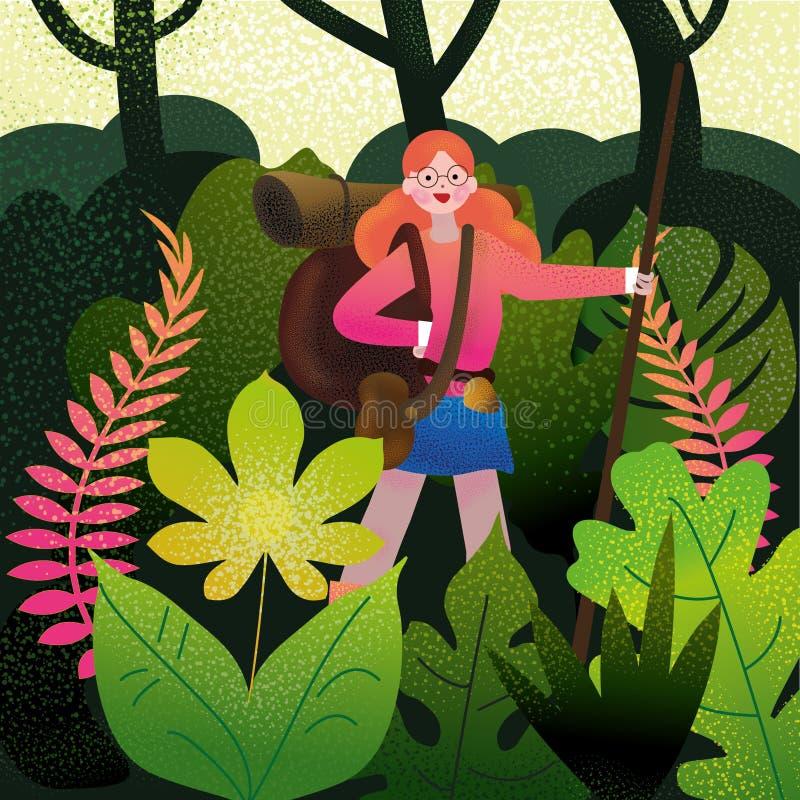 Gehendes Kampieren des roten behaarten Mädchens im Dschungel vektor abbildung