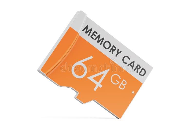 Geheugenkaart 64 GB, het 3D teruggeven royalty-vrije illustratie