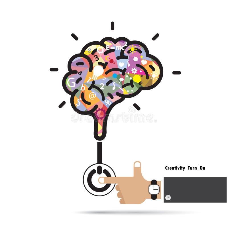 Gehirnöffnungskonzept Kreatives Gehirnzusammenfassungsvektor-Logodesign lizenzfreie abbildung