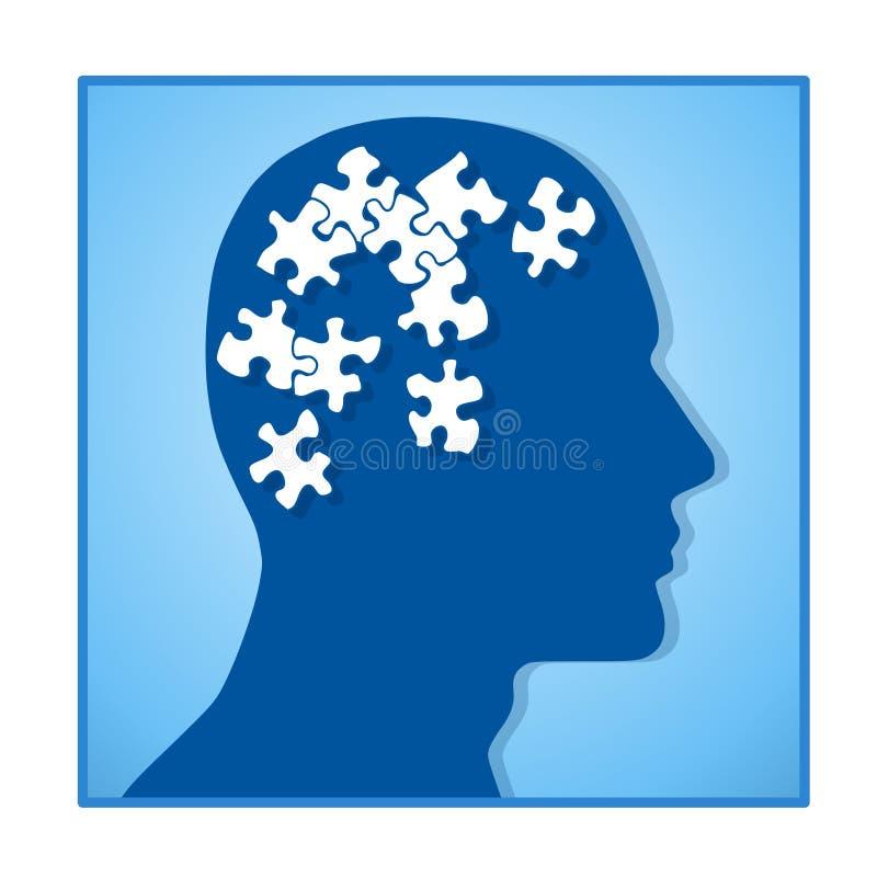 Gehirn als Puzzlespiel-Stücke im Kopf lizenzfreie abbildung