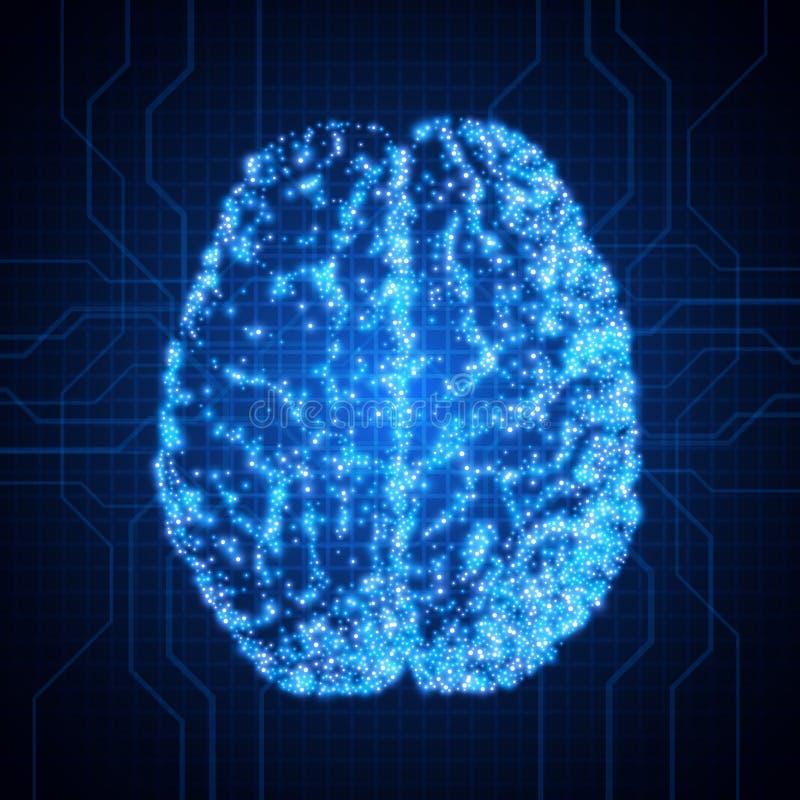 gehirn background mit brain Das Konzept von thinking Brain Neurons Abstrakter Technologie-Hintergrund vektor abbildung