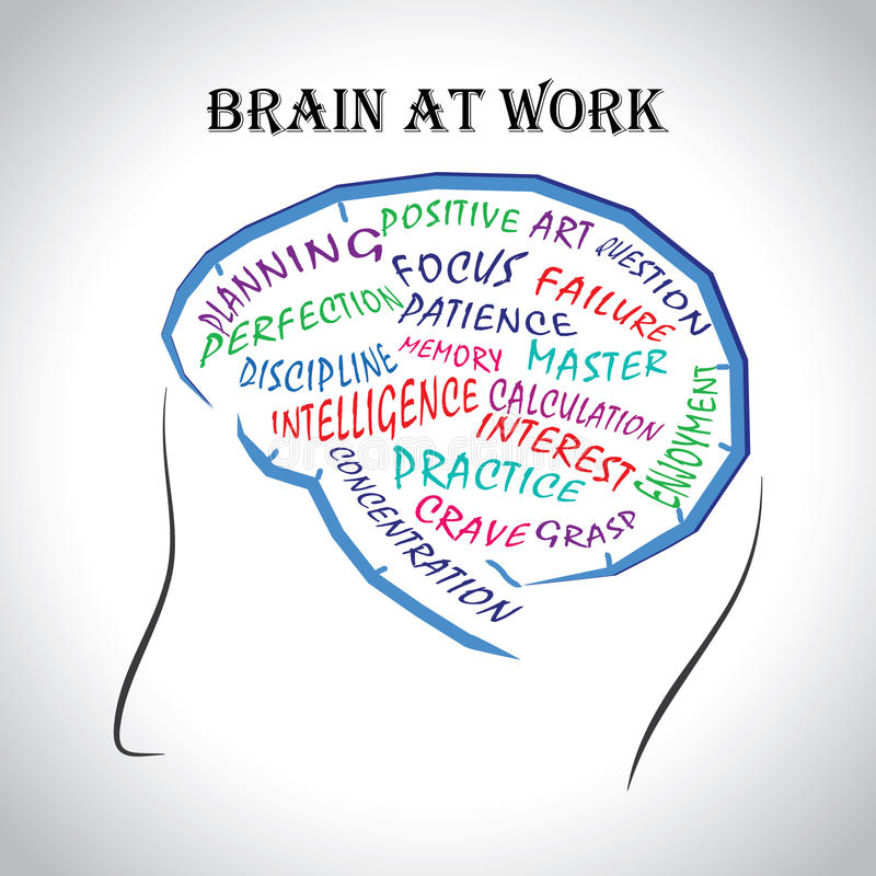 Gehirn bei der Arbeit stock abbildung