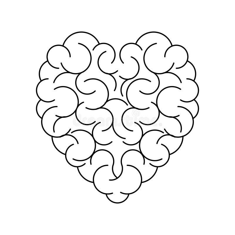 Gehirn in der Form des leeren Hintergrundes des Herzens stock abbildung