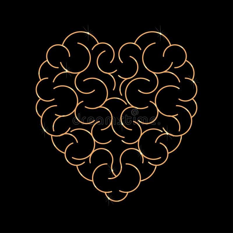 Gehirn in der Form des leeren Hintergrundes des Herzens lizenzfreie abbildung
