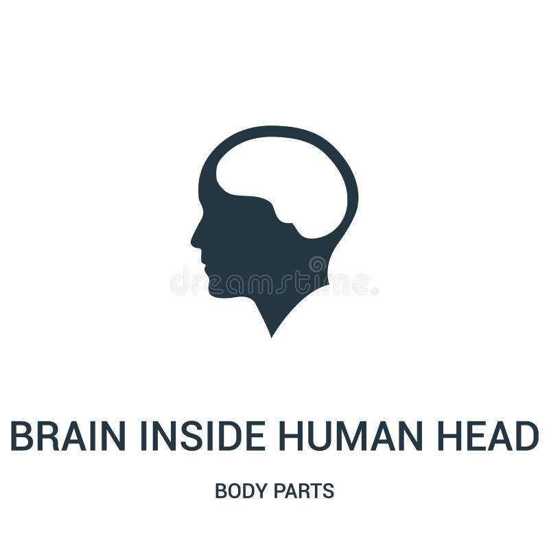 Gehirn innerhalb des menschlichen Hauptikonenvektors von der Körperteilsammlung Dünne Linie Gehirn innerhalb der menschlichen Hau stock abbildung