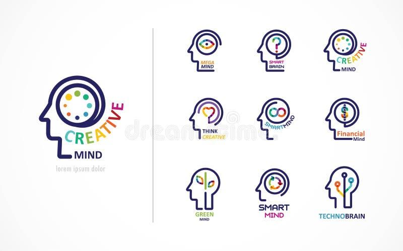 Gehirn, kreative Sinnes-, Lernen- und Designikone Mannkopf, Leutesymbol stock abbildung