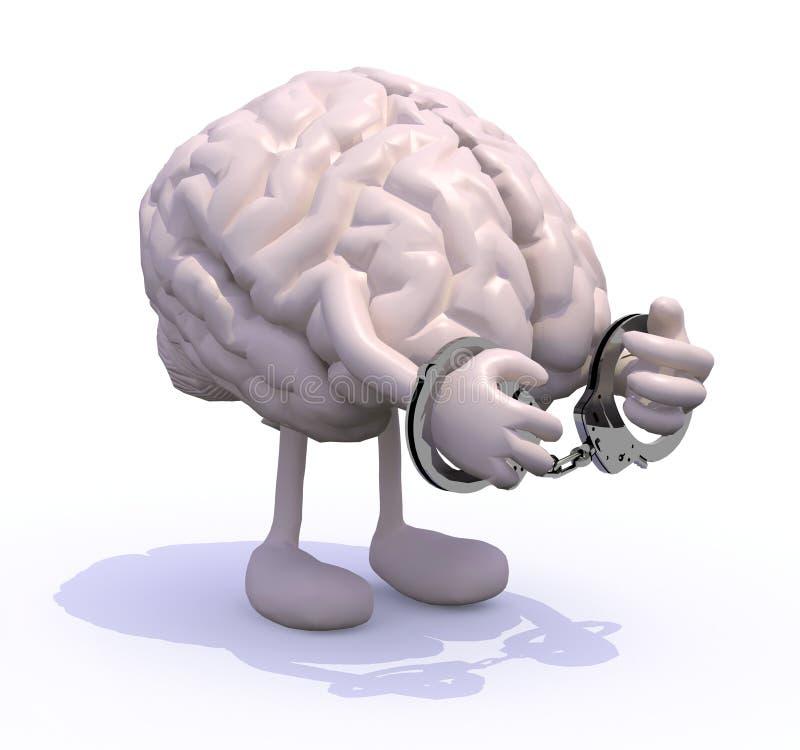 Gehirn mit den Armen, den Beinen und den Handschellen lizenzfreie abbildung