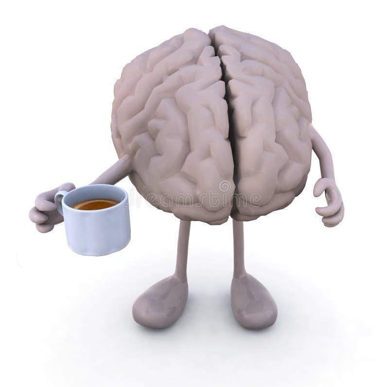 Gehirn Mit Den Armen Und Beine Und Tasse Kaffee Stock Abbildung ...
