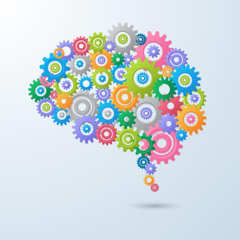 Gehirn mit Gang Farbe voll, Illustration des Vektorgestaltungselements eps10 stock abbildung