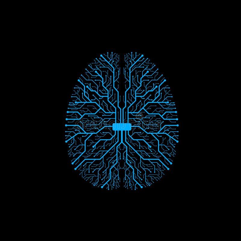 Gehirn mit Leiterplattebeschaffenheit Digital-Konzept vektor abbildung