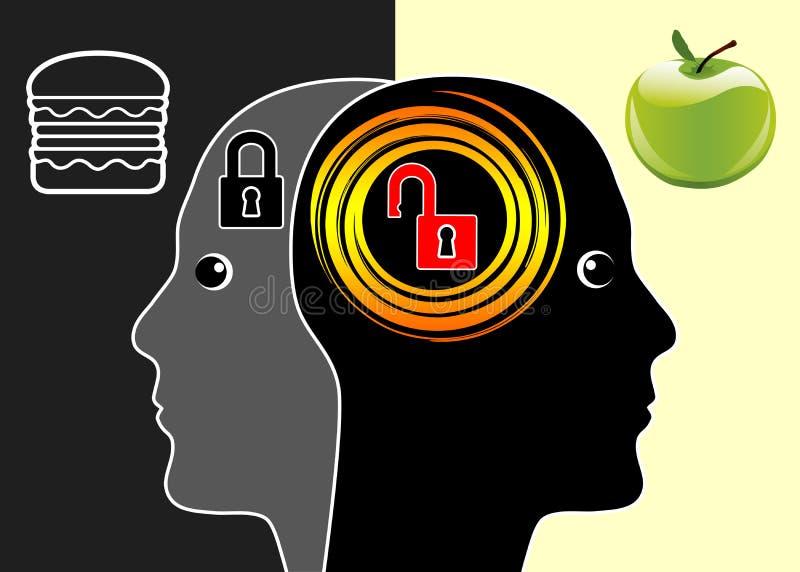 Gehirn oder ungesunde Fertigkost lizenzfreie abbildung