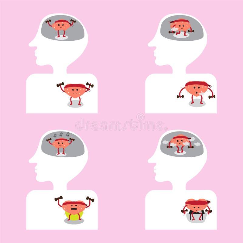 Gehirn- Und Herzkarikatur Trainieren Zusammen Innerhalb Des Körpers ...