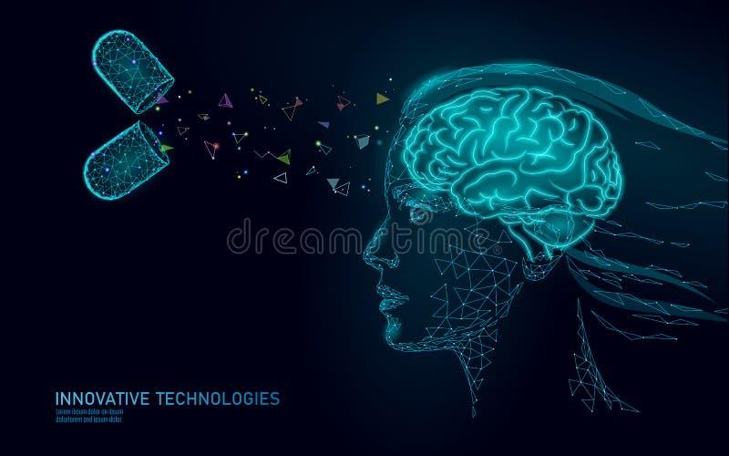 Gehirnbehandlung niedriges Poly-3D ?bertragen Des nootropic menschlichen intelligente psychische Gesundheit F?higkeits-Reizmittel vektor abbildung