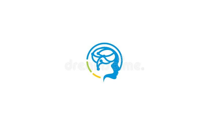 Gehirngesundheitslogovektor-Ikonentechnologie vektor abbildung