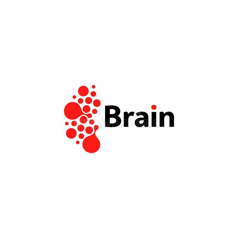Gehirnhemisphärenlogo, rote runde Formen, ungewöhnliche Firmenzeichenschablone des abstrakten Vektors Medizinische oder andere Wi lizenzfreie abbildung