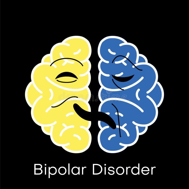 Gehirnikone f?r flachen Entwurf der bipolaren St?rung stock abbildung