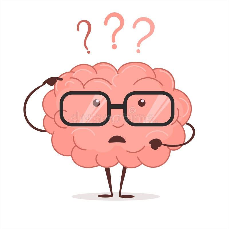 Gehirnkarikatur mit Fragen und Gläser, menschlicher Intellekt denkt und löst gedanklich Vektor lizenzfreie abbildung
