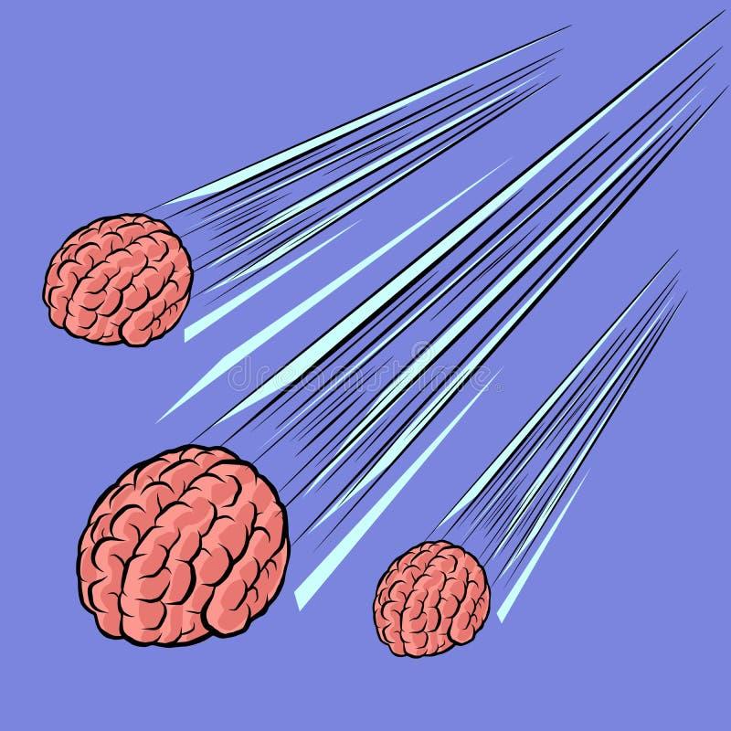 Gehirnmeteor die Intelligenz des Menschenverstandes lizenzfreie abbildung