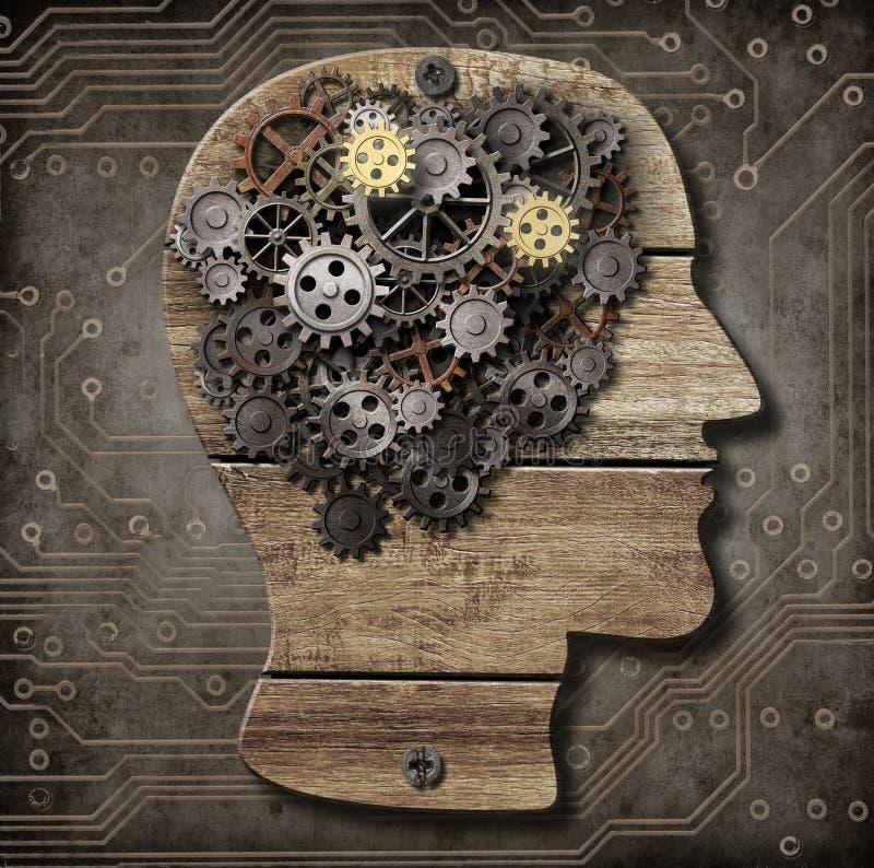 Gehirnmodell von den rostigen Metallgängen und -zähnen vektor abbildung