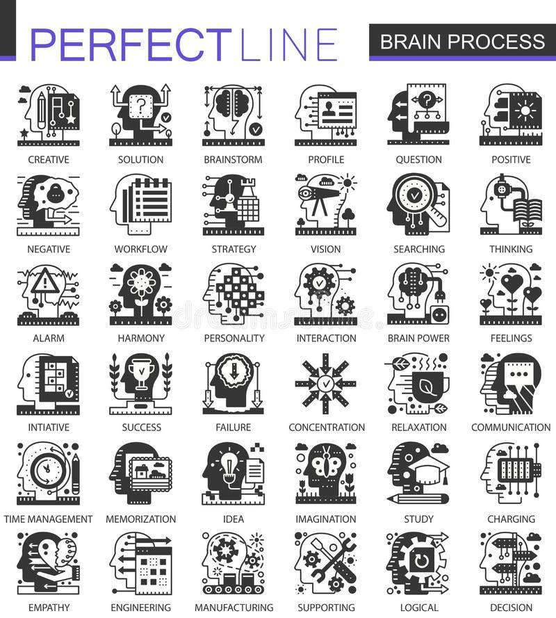 Gehirnsinnesprozessschwarzminikonzeptikonen und infographic Symbolsatz lizenzfreie abbildung