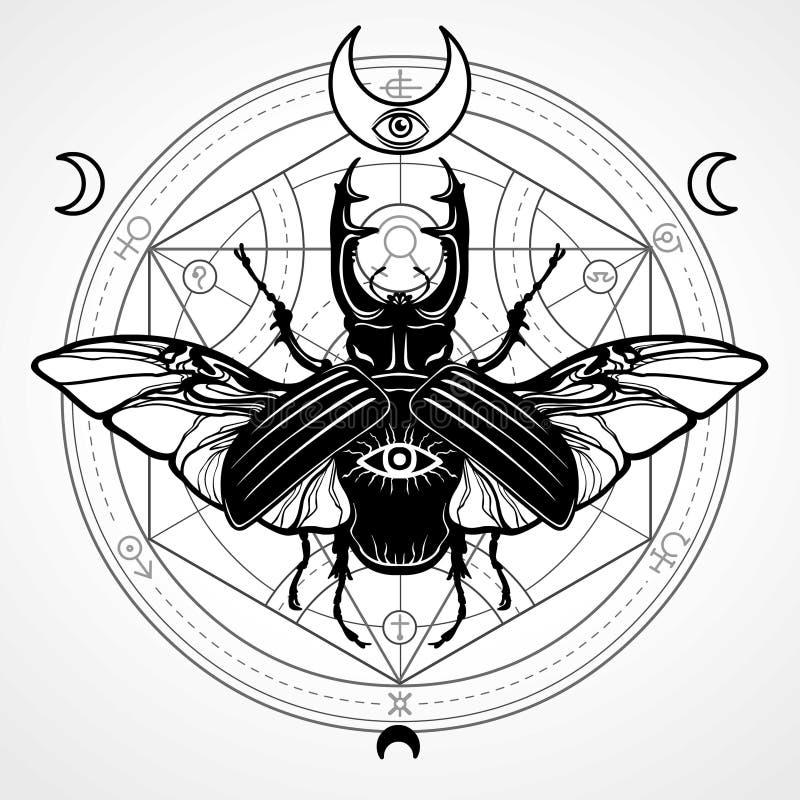 Gehoornd Insect Mystieke cirkel Esoterisch symbool, heilige meetkunde royalty-vrije illustratie