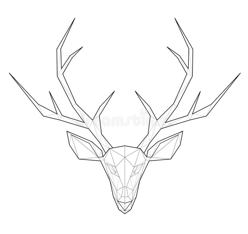 Gehoornde herten - lage veelhoekillustratie stock illustratie