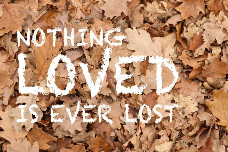 Gehouden van niets is ooit verloren citaat op eiken bladeren geweven achtergrond royalty-vrije stock afbeeldingen