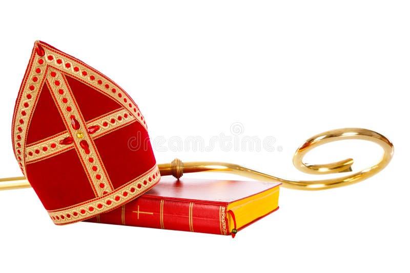 Gehrungsfugen- oder Gehrungsfugenbuch und Personal von Sankt- Nikolaussinterklaas stockfotografie