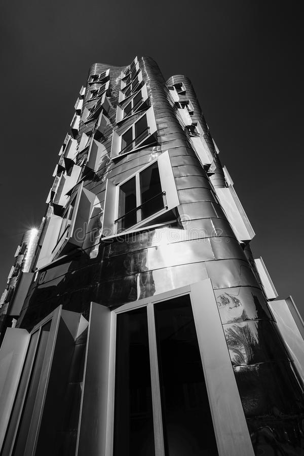 Gehry building. Dusseldorf, Germany - April 23, 2015: Der neue Zollhof (Z´The new Zollhof) is a prominent landmark of Media Harbor, part of the redeveloped stock image