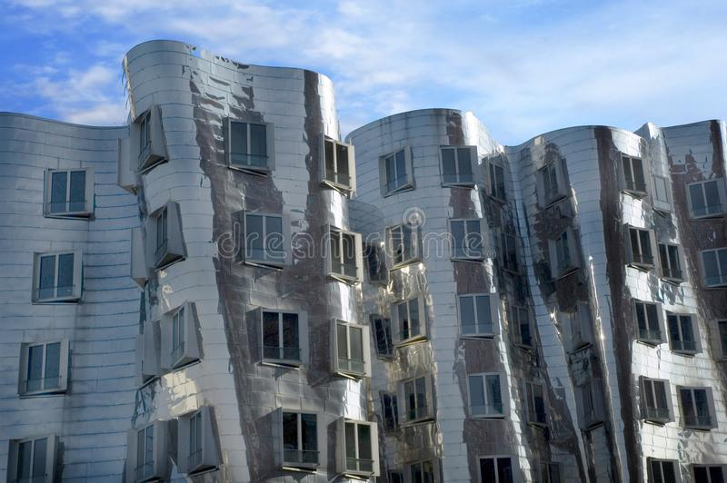 Futuristic Gehry houses in Medienhafen in Düsseldorf, germany. Gehry building in Medienhafen , a new part of Duesseldorf, Germany. In Medienhafen there are a royalty free stock images