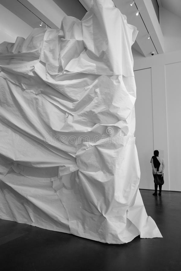 Gehry wrapped sculpture. Installation at the entrance of the Gehry retrospective at Lama stock image