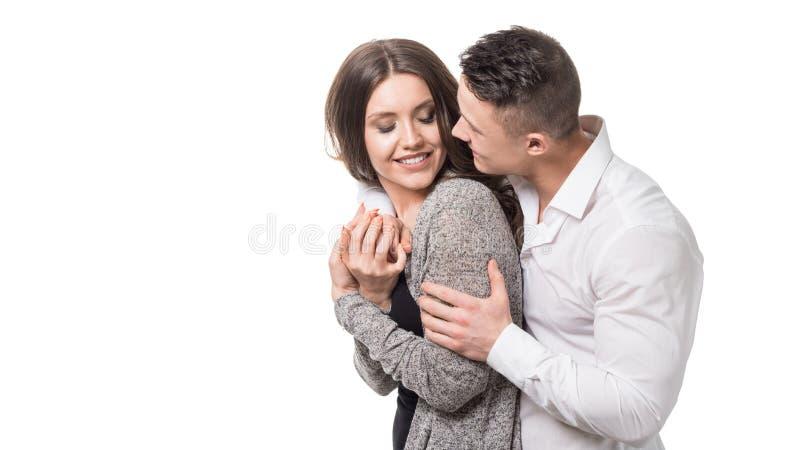 Gehuwd paar Man holdingsvrouw en het bekijken camera Pregnacy, paardoel, geluk, eigenschap, droom en wijfje royalty-vrije stock afbeelding