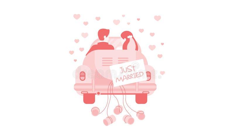 Gehuwde enkel bruid en bruidegom in auto, huwelijksuitnodiging, groetkaart, banner, affiche vectorillustratie stock illustratie