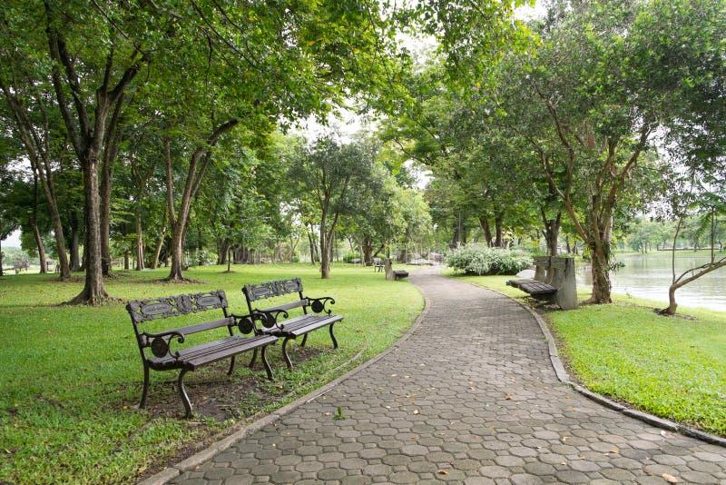 Gehweg in allgemeinem Park Suan Luang Rama 9 stockbilder