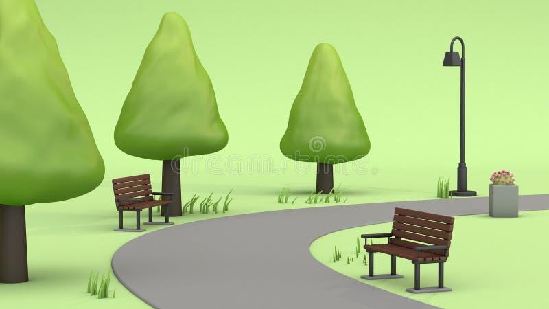 Gehweg in den grünen Parks 3d übertragen stock abbildung