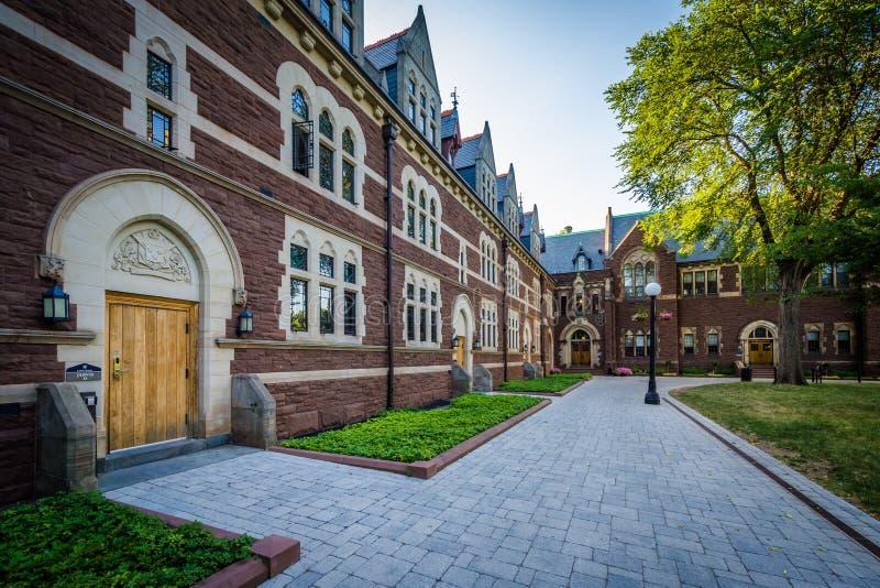 Gehweg und die Gebäude des weiten Spaziergangs am Dreiheits-College stockfotos