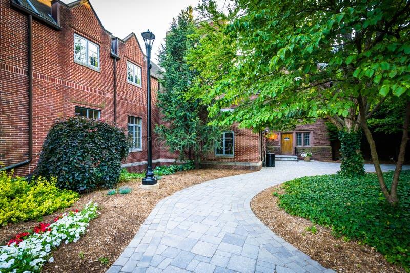 Gehweg und Gebäude am Dreiheits-College, in Hartford, Connectic stockfotos