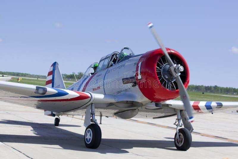 Geico Skytypers SNJ-2世界大战II时代飞机 库存图片