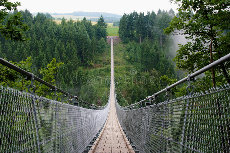 Geierlay suspension bridge. In the German region of Hunsrück stock photos