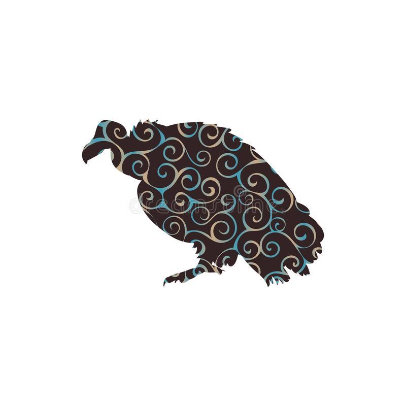Geiervogelspiralenmusterfarbschattenbildtier lizenzfreie abbildung