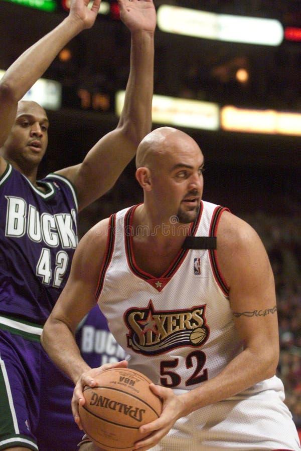 Geiger. Matt Geiger, center for the Philadelphia 76ers. 2000-01 season royalty free stock images